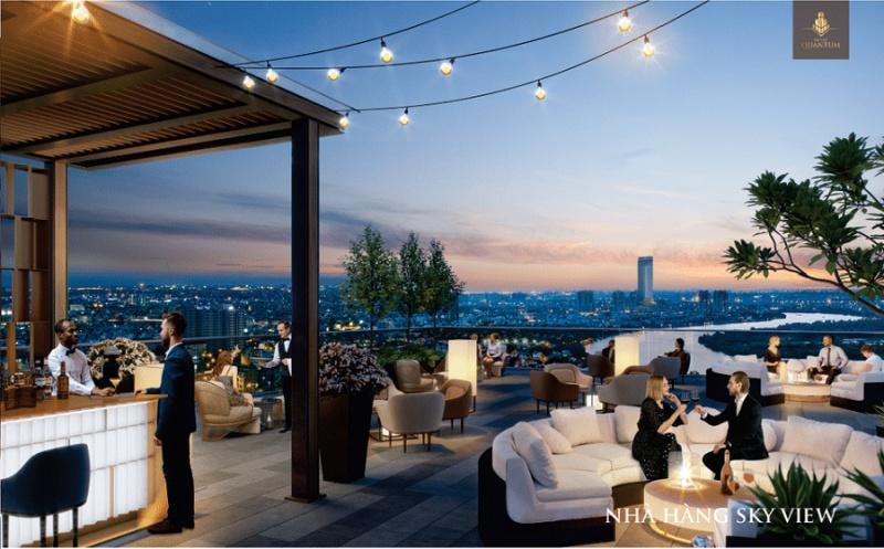 Nhà hàng Sky View tầm nhìn thành phố tuyệt đẹp