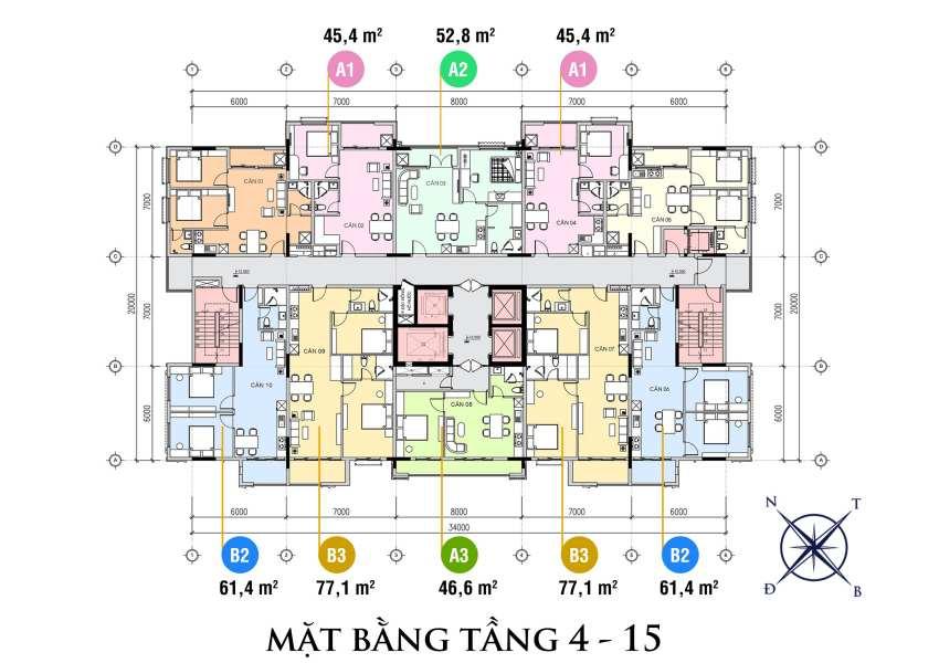 Mặt bằng tầng 4 - 15 của dự án The First Minh Linh Compound