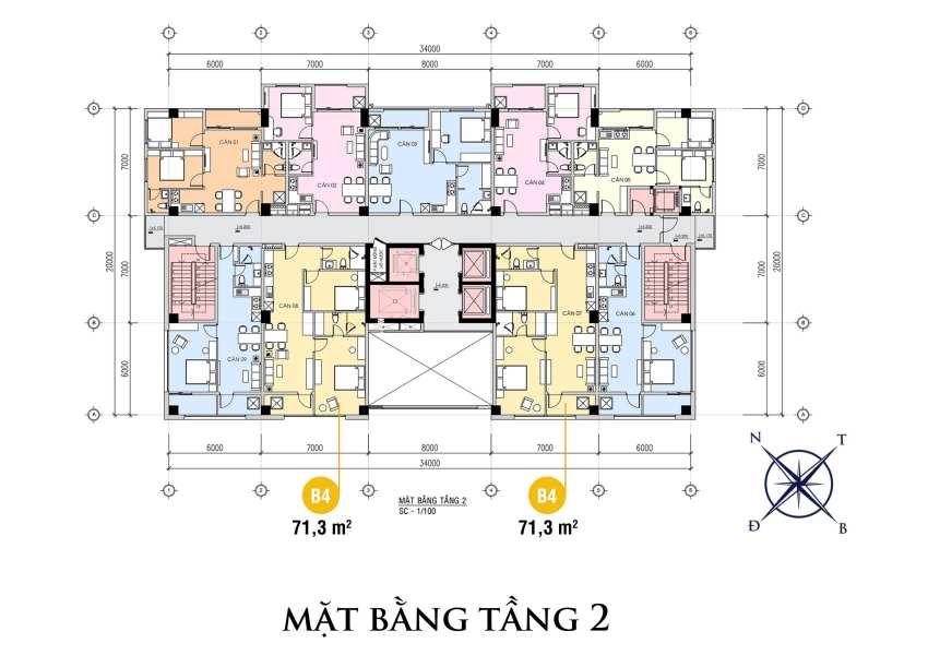 Mặt bằng tầng 2 của dự án The First Minh Linh Compound