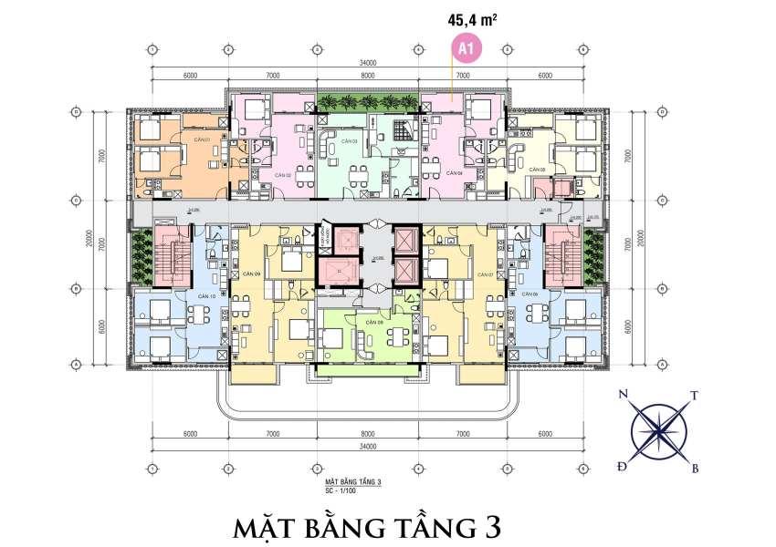 Mặt bằng tầng 3 của dự án The First Minh Linh Compound