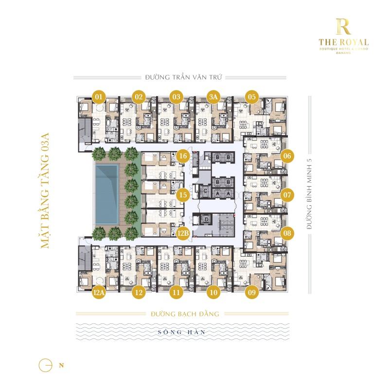 Mặt bằng tầng dự án The Royal Đà Nẵng