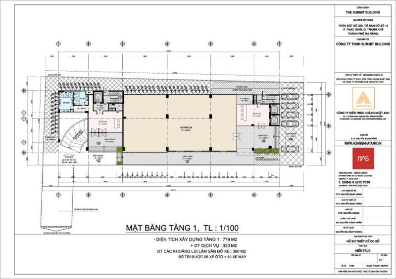 Mặt bằng tầng 1 dự án The Summit Building Đà Nẵng