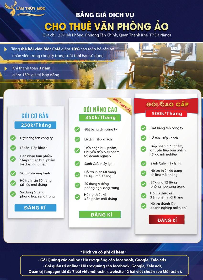 Bảng giá cho thuê văn phòng ảo tại Lâm Thủy Mộc